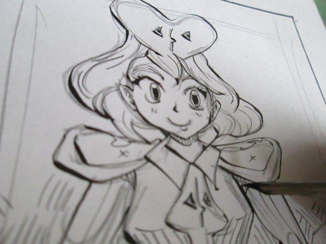 女性イラストを描いている画像