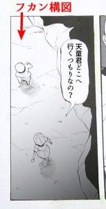 フカン構図の漫画の絵