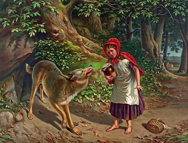 赤ずきんがオオカミといる画像