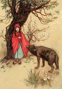 赤ずきんと狼がいる画像