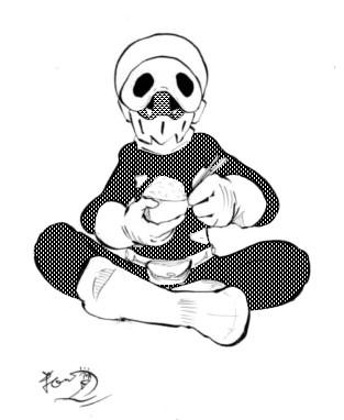ドクロイド 飯を食べる