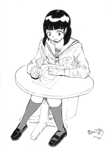 勉強する少女のイラスト