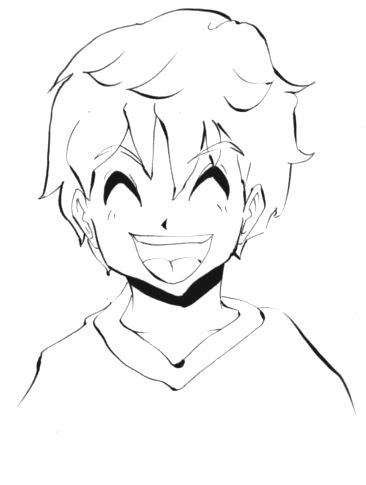 笑う少年のイラスト画像