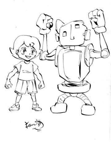 少年とロボットのいるイラスト画像