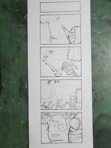 四コマ漫画のペン入れ途中の画像
