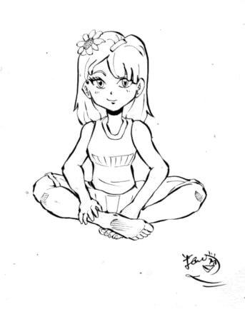 あぐらをかく少女のイラスト