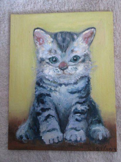 子猫,油彩画