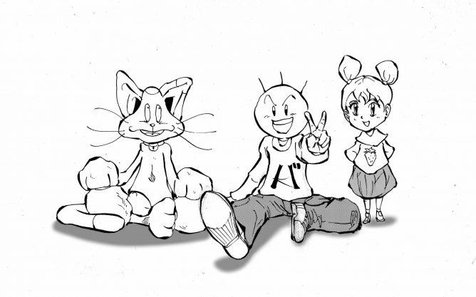 バカオとチッティと少女のイラスト