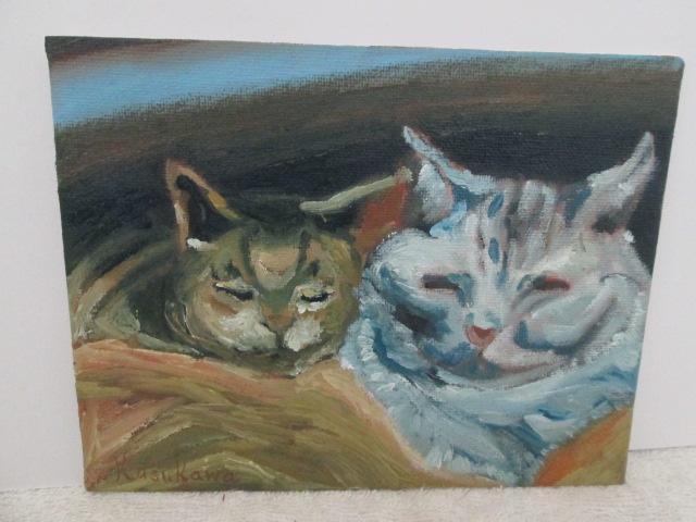 二匹の猫,油彩画