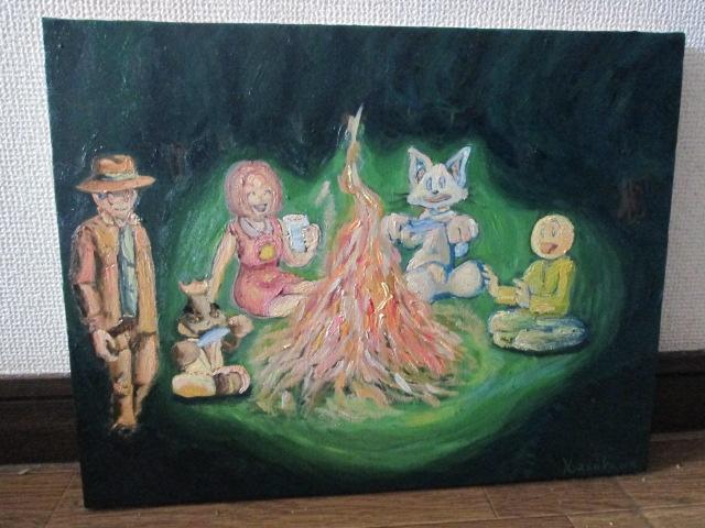 幻想の森にいるバカオやチッティ 油彩