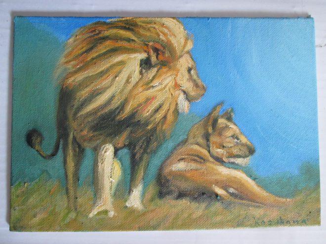 ライオン,油彩画