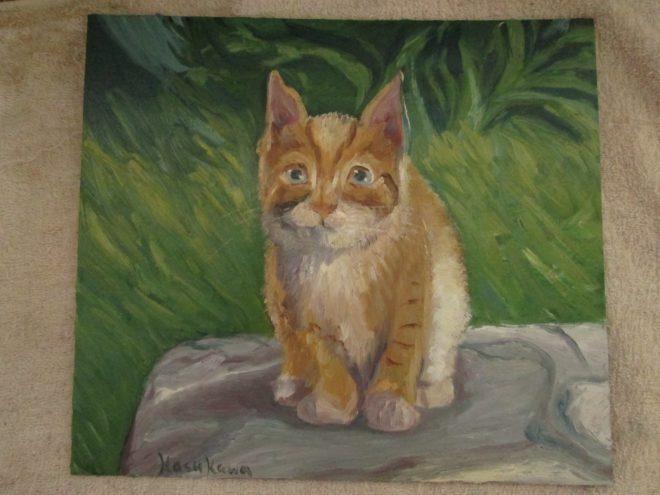 猫,油彩画