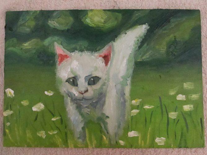 白い猫,油彩画