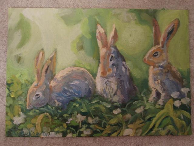 ウサギ,油彩画