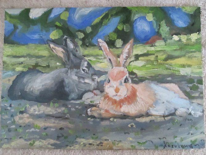 二匹のウサギ,油彩