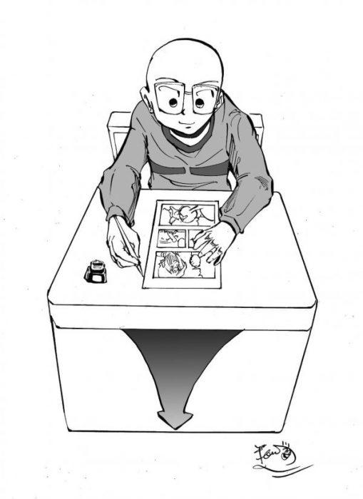天童大 漫画を描く