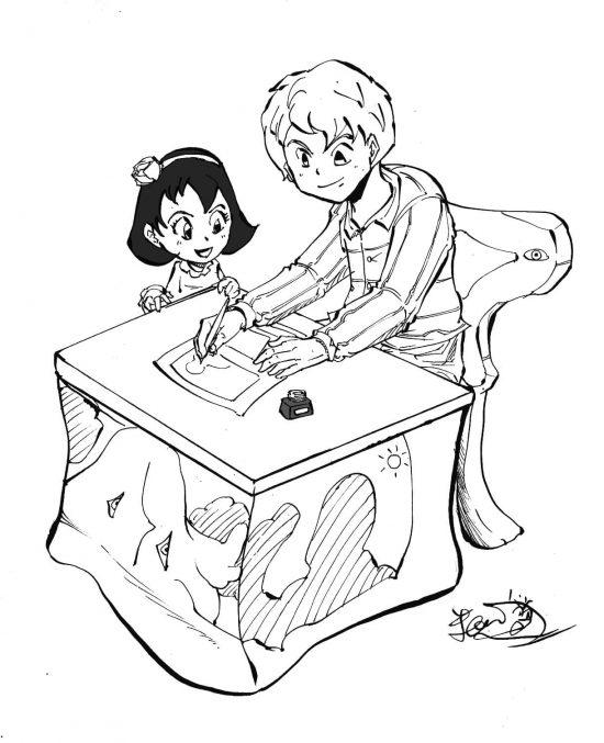 漫画を描く人と少女のイラスト