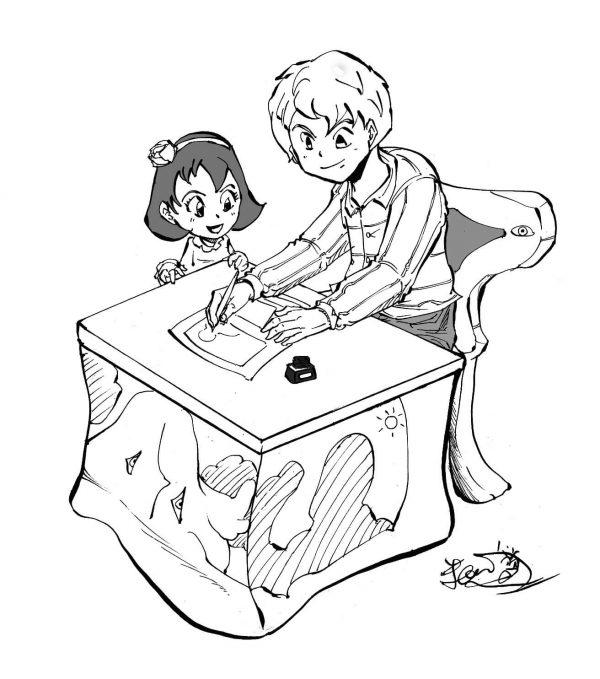 粕川が漫画を描いている所と少女