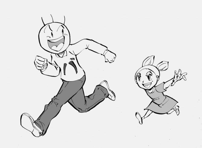 走るバカオと少女