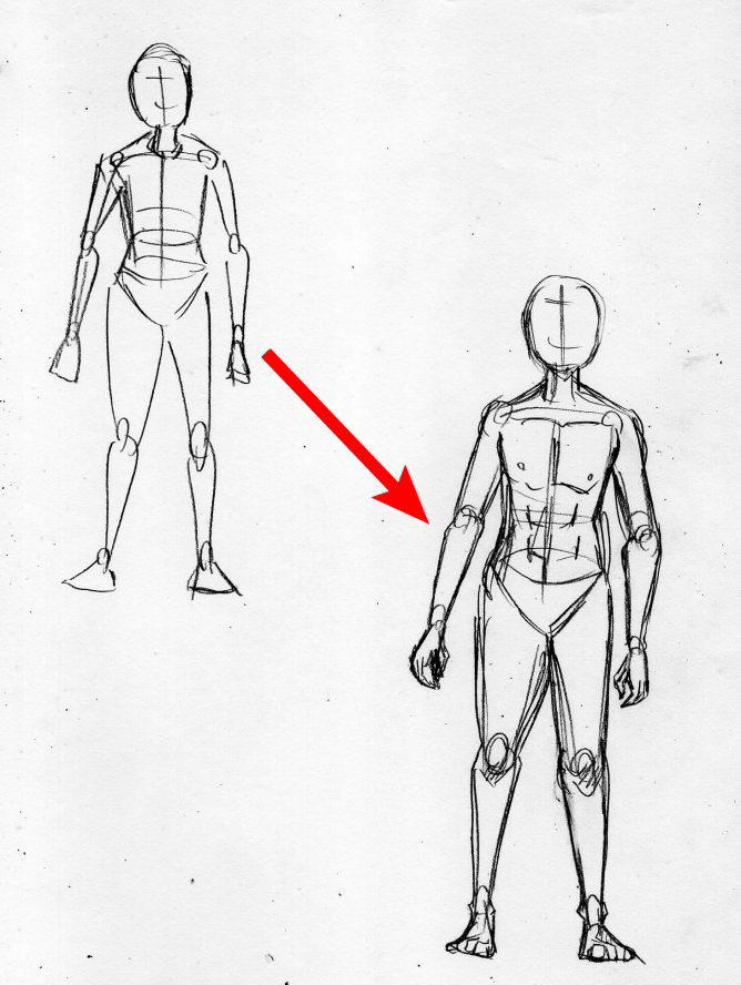 漫画の人体の描き方 アタリを元に体を描く