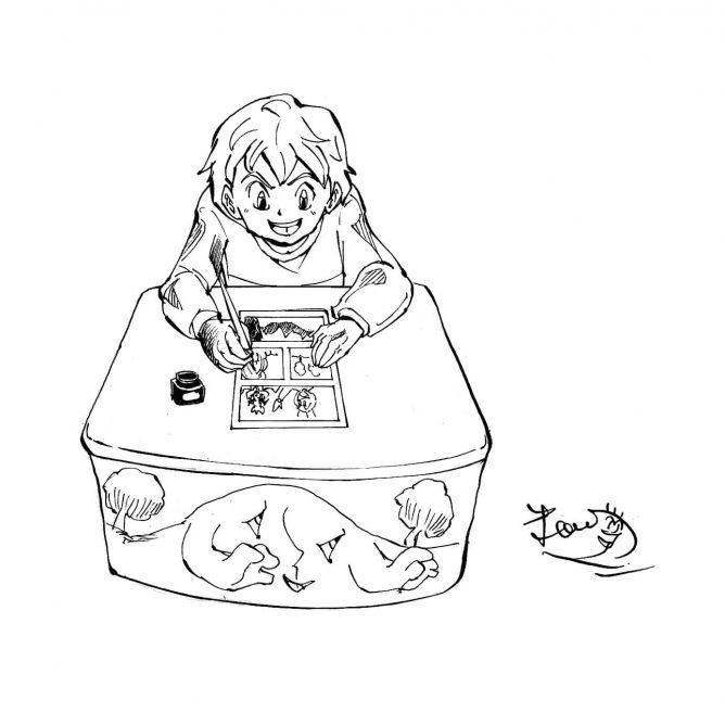 粕川漫画描いてる所