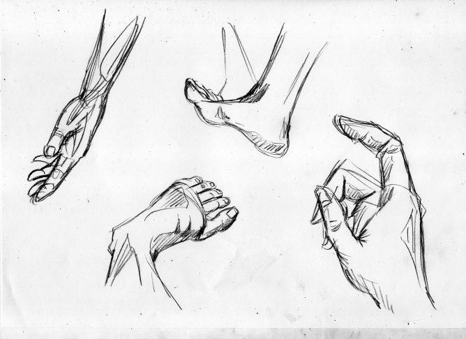 漫画の人体の描き方 部分的な絵の練習