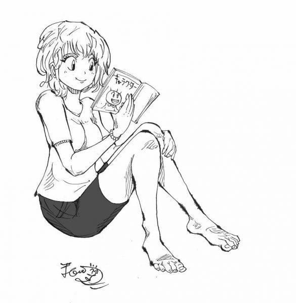 漫画キャラ創作本を読む女性