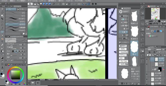 クリップスタジオで漫画のペン入れをしている画像