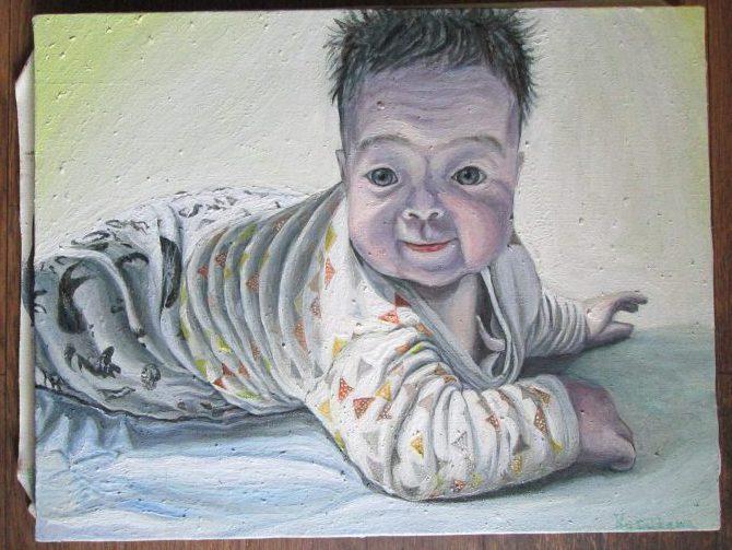 赤ちゃん,油絵