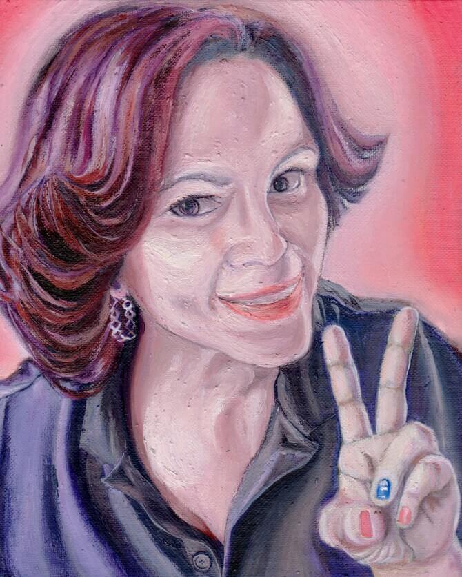 人の顔を描いた油絵