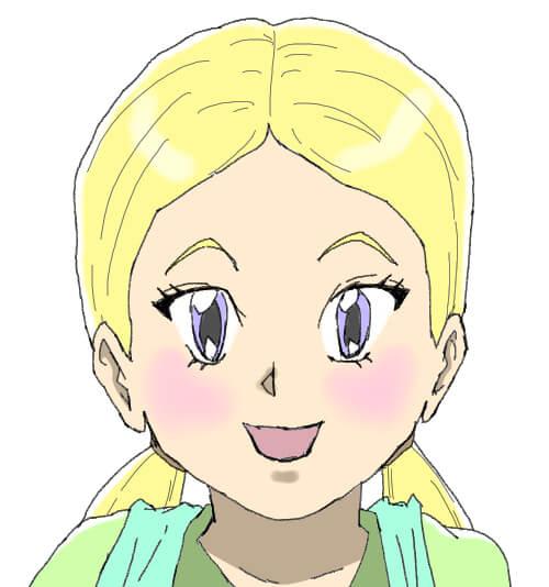おさげ髪の少女のイラスト